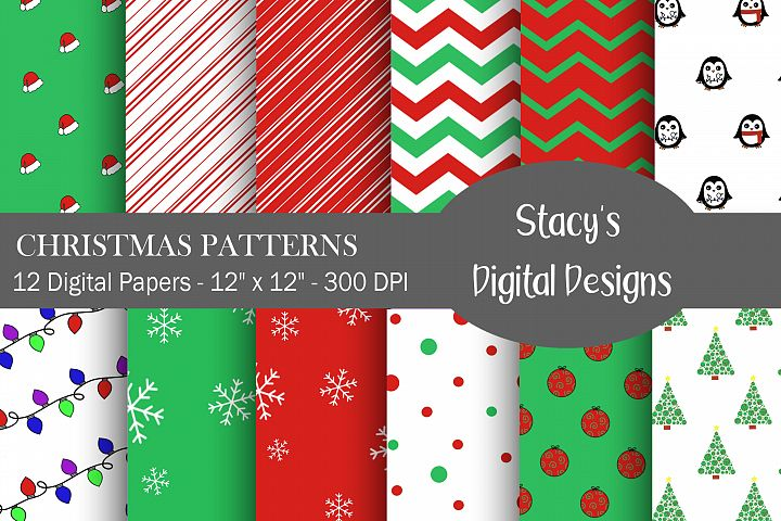 Christmas Patterns - 12 Digital Papers