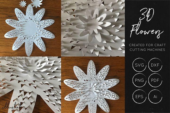 3D Flower SVG Cut Files - Flower SVG - Layered Flower DXF - Free Design of The Week Design 5