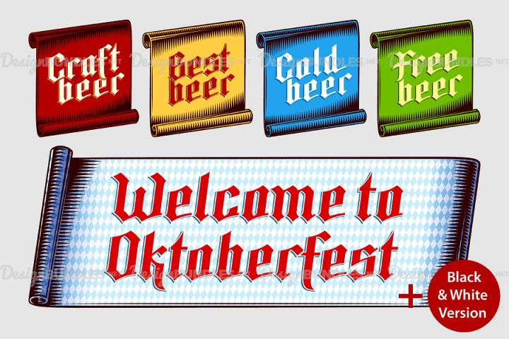Vector Ribbon Tag Label Vintage Inscripnion Oktoberfest