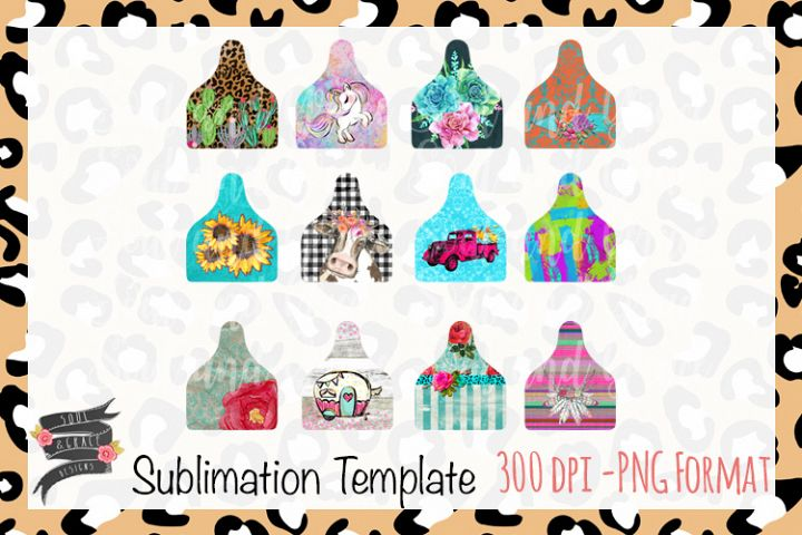 Cow Tag Sublimation Template
