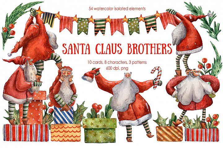 Santa Claus Brothers - Watercolor Clip Art Set