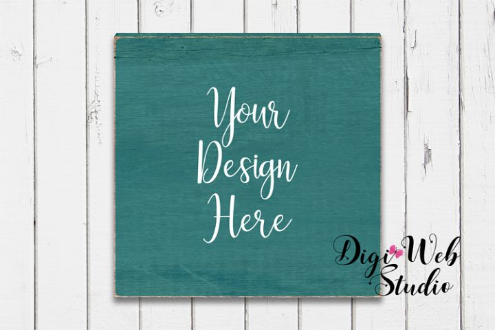 Wood Sign Mockup - Painted Wood Sign on White Shiplap
