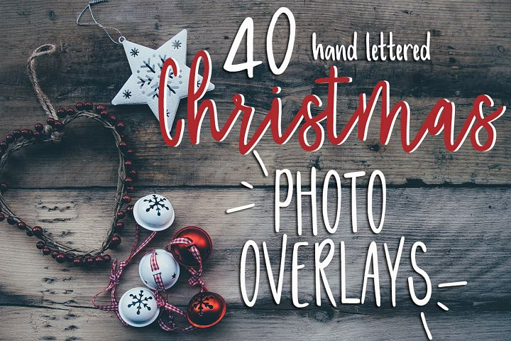 40 Christmas Photo Overlays + FREE symbols font