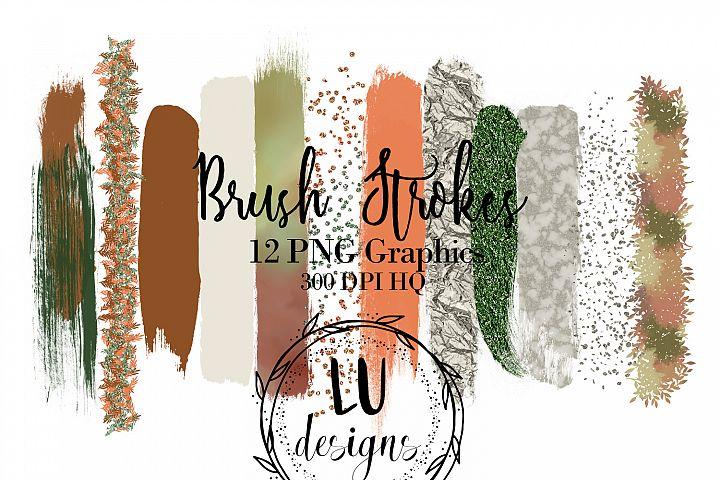 Fall Brush Strokes Clipart, Fall Watercolor, Glitter Overlay