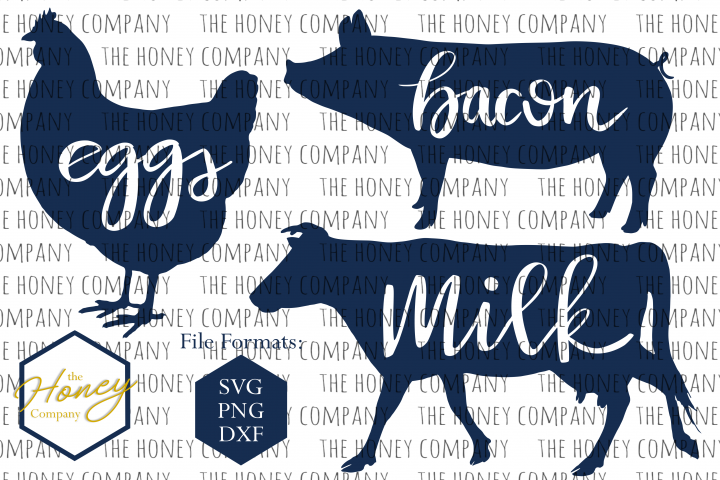 Farmhouse SVG PNG DXF Signs Hand Lettered Cow Pig Chicken Milk Bacon Eggs Download Silhouette Cricut Cut Files Cutting Machine Vector