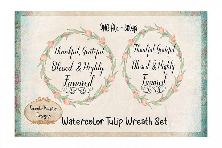 Watercolor Tulip Wreath Set