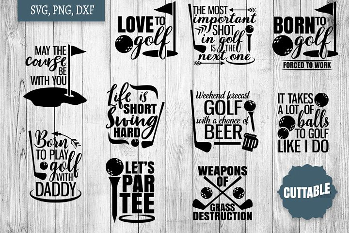 Golf SVG bundle, golfer quote cut files, golf quote SVGs