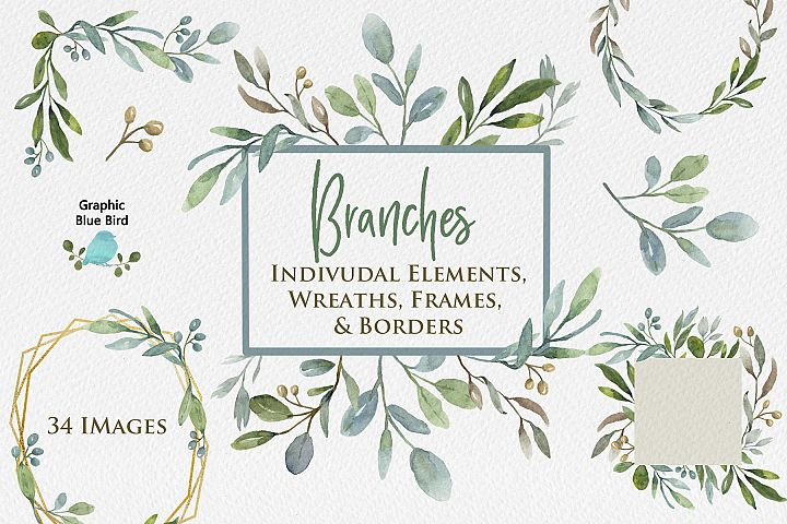 Branches Watercolor Clip Art, Greenery Wreaths & Frames