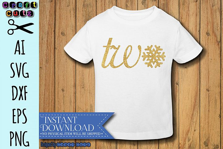 Snowflake Two svg, Winter Birthday Theme, Second Birthday