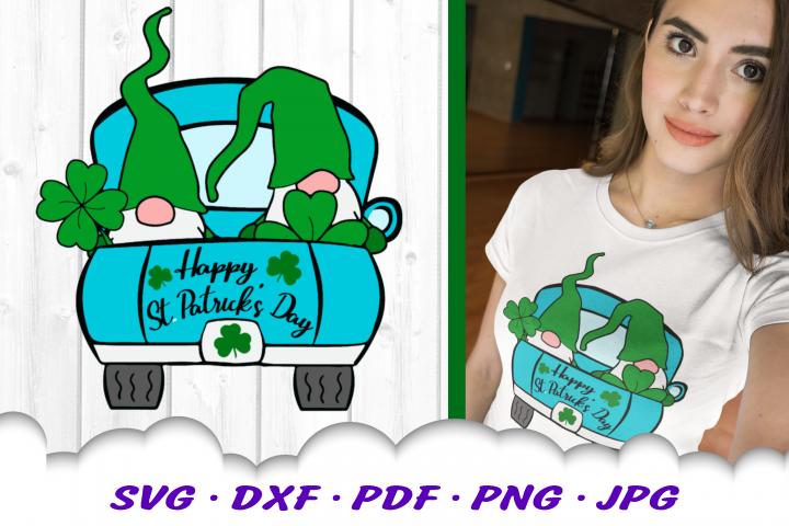 St Patricks Day Gnomes Truck Shamrock SVG DXF Cut Files