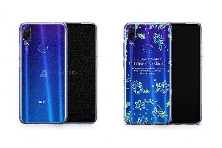 Redmi Note 7 Pro UV TPU Clear Case Mockup 2019 Description