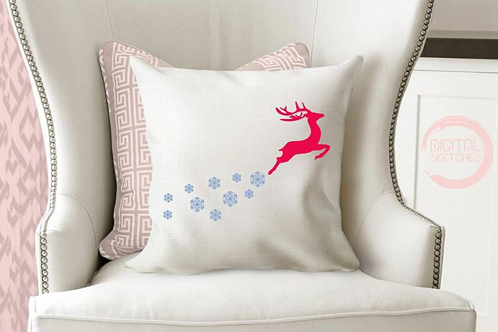 Deer Snowflakes Cut File Vector Graphics Illustration