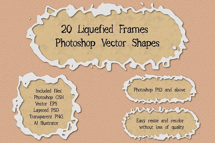 20 Liquefied Frame Vector Photoshop Shapes Set