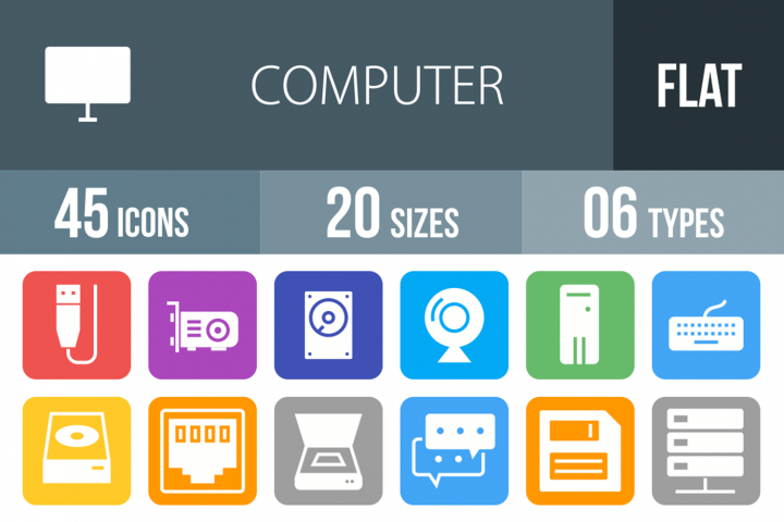 45 Computer Filled Round Corner Icons