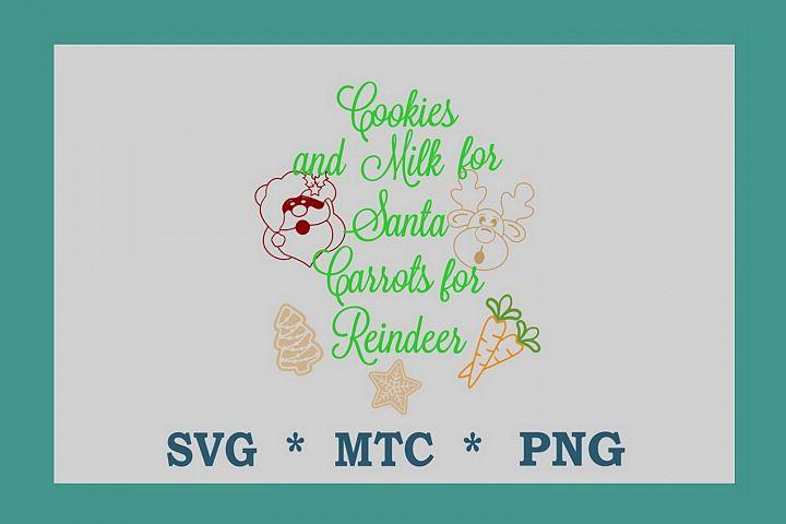 SVG Cookies for Santa Carrots 4 Reindeer Design #09 Cut File