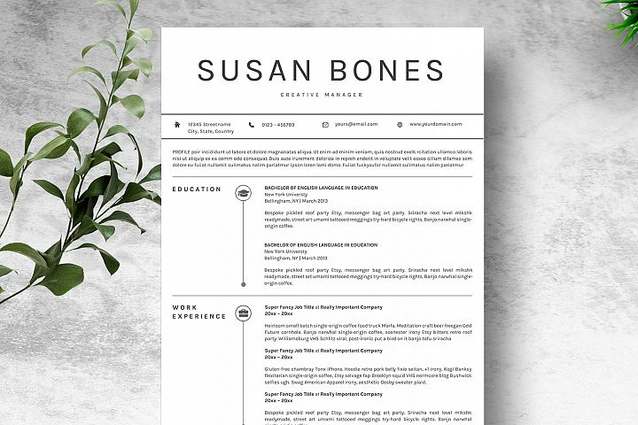 Clean & Simple Resume Template CV Microsoft Word