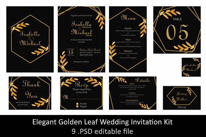 Elegant Golden Leaf Wedding Invitation Kit