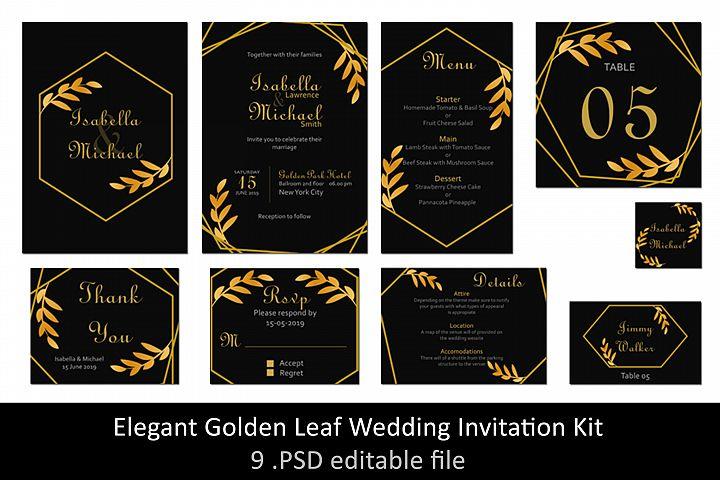 Elegant Golden Leaf Wedding Invitation Kit