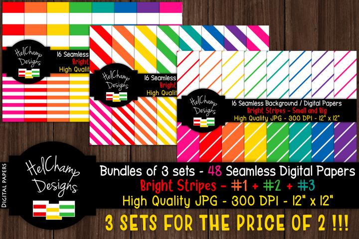 48 seamless Digital Papers - Stripes Bright serie - DB009