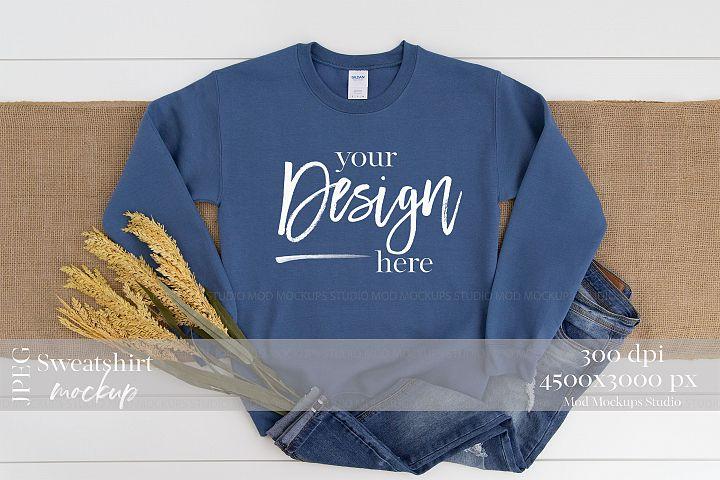 Gildan 18000 Mockup   Sweatshirt Mockup INDIGO BLUE