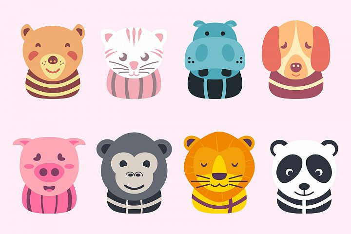 Cute animals head illustration flat color playful children