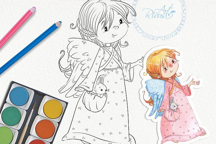 Christmas Angel Digital Stamp. Cute girl Download.