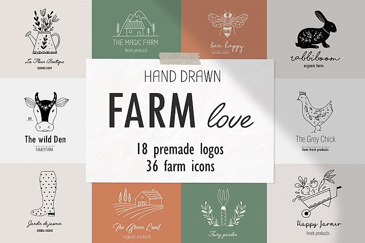 Farm love - premade logos set