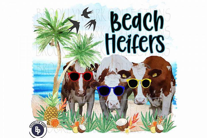 Beach Heifers, Cow Art Print, Sublimation PNG