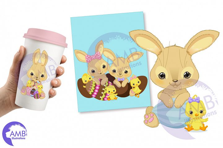 Bunnies and chicks easter clipart, AMB-2729 example image 4