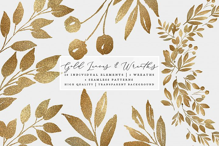 Gold leaves and wreaths, gold foil leaves clip art