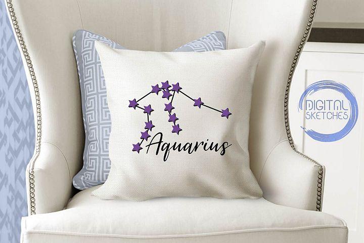 Zodiac Aquarius Vector Graphic, Constellation SVG, Astrology