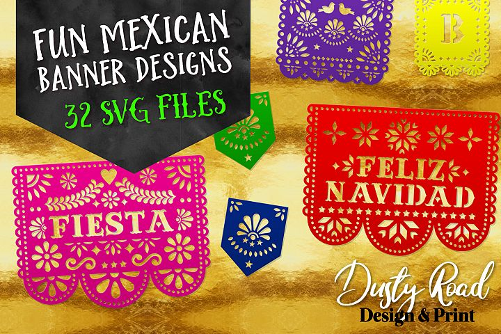 FUN MEXICAN BANNER DESIGNS - 32 designs - svg cut files
