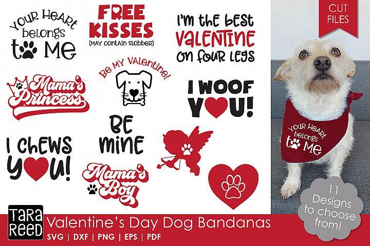 Valentines Day Dog Bandanas - Dog SVG and Cut Files