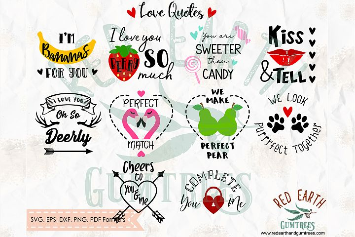 Valentines Day Love quotes bundle in SVG,DXF,PNG,EPS,PDF