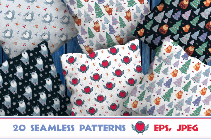 Christmas Woodland. Seamless patterns with cute animals