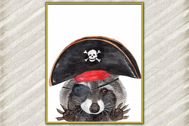 Raccoon digital print Funny Animal Poster Pirate Animal Ra