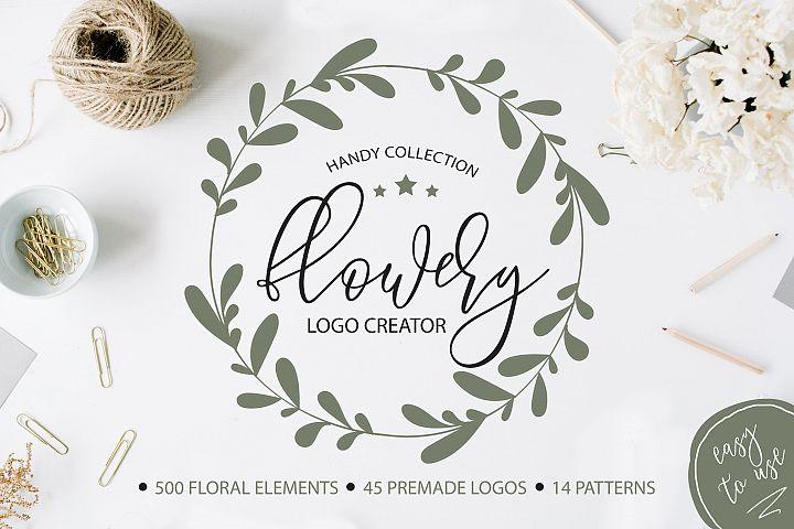 Flowery Logo Creator. Botanical elements