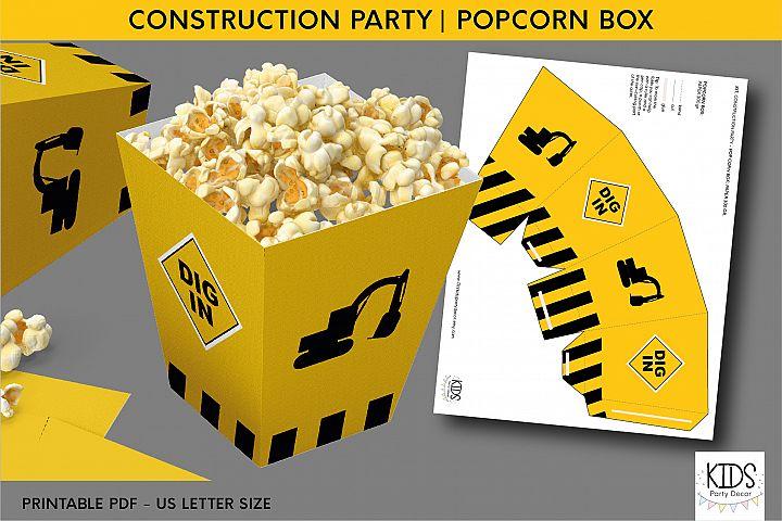 Construction party printable popcorn box, birthday party