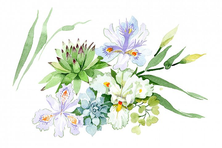 Bquet with white irises watercolor PNG