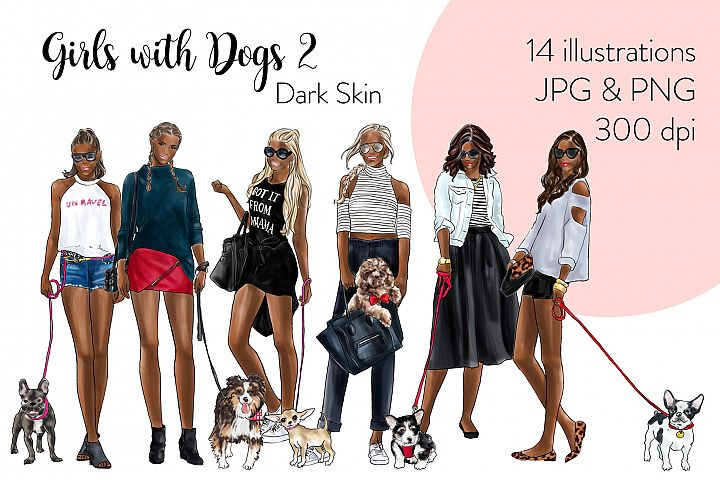 Fashion illustration clipart - Girls with Dogs 2 - Dark Skin
