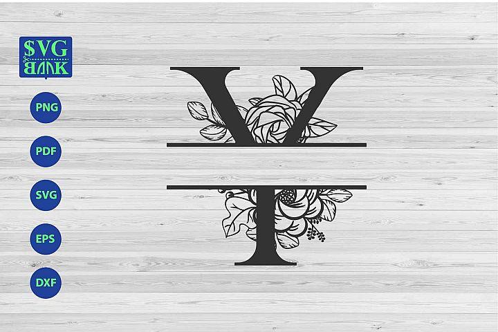 Split monogram letter Y Svg, Alphabet floral initial logo Y