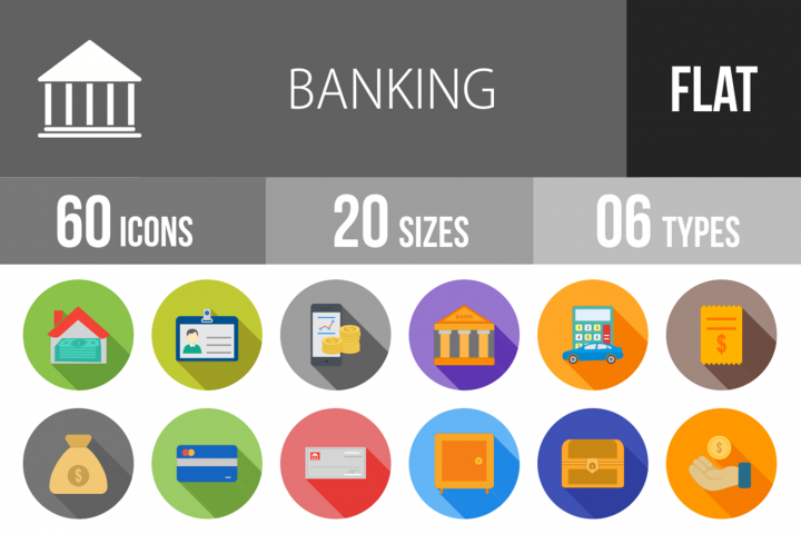 60 Banking Flat Long Shadow Icons