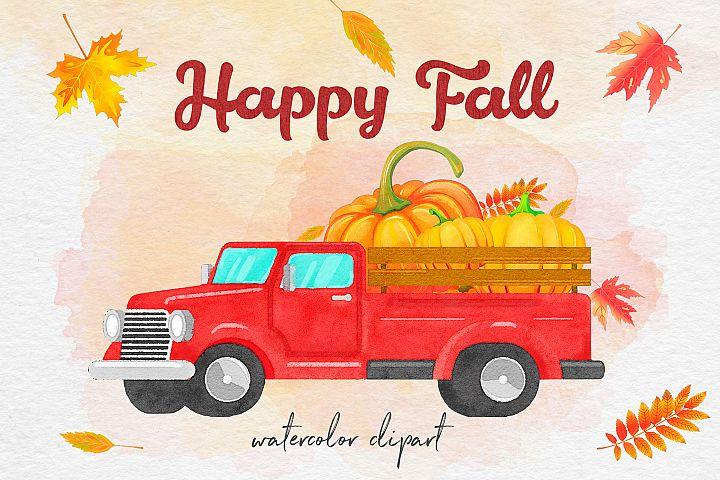 Watercolor Pumpkin Truck