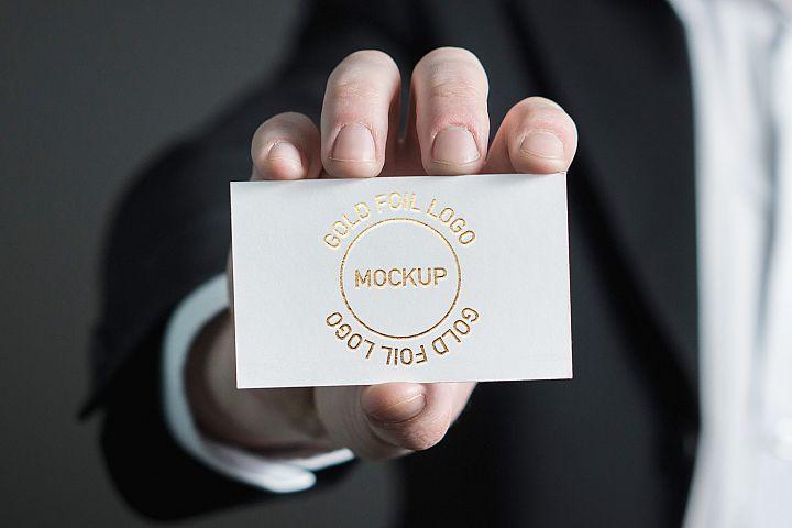 Gold Foil Logo Card Mockup