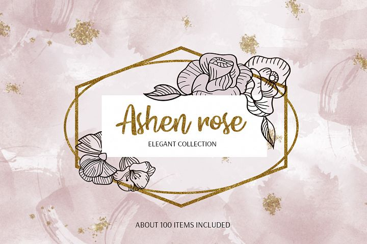 Ashen roses. Vector collection.