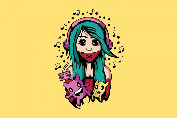 Girl with headphone design template