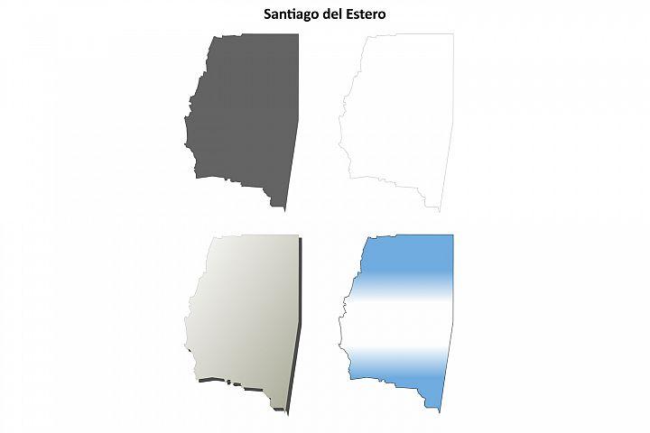 Santiago del Estero blank outline map set