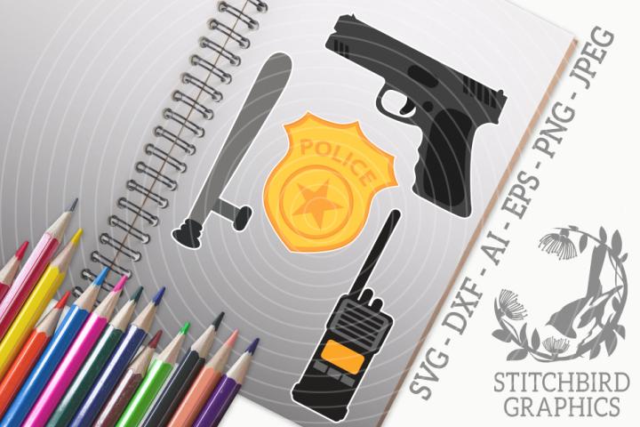 Police 1 Bundle SVG, Silhouette Studio, Cricut, Eps, JPEG
