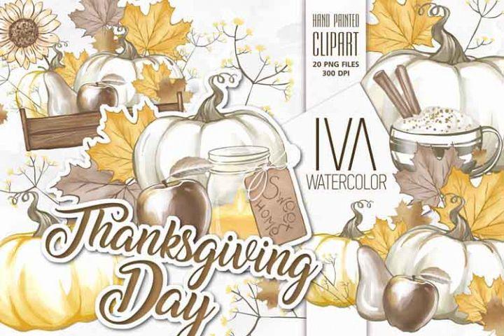Thanksgiving Clip Art, Pumpkin Sunflower Autumn Clipart