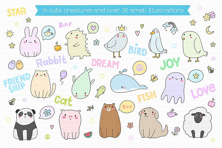 Cute Creatures Vector Set example 2